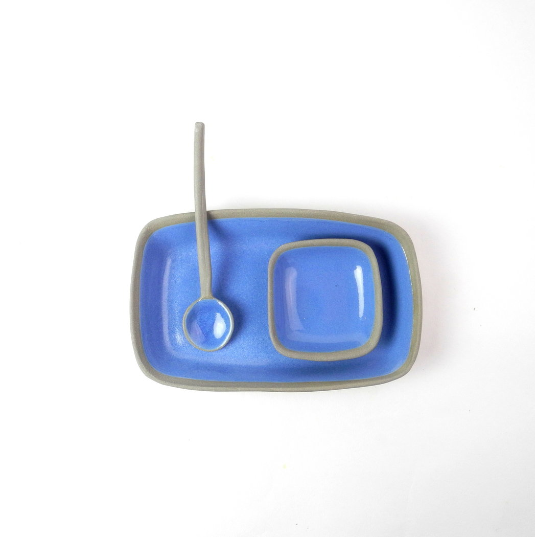 Sushi set in grijs en delfs blauw - stone and color.