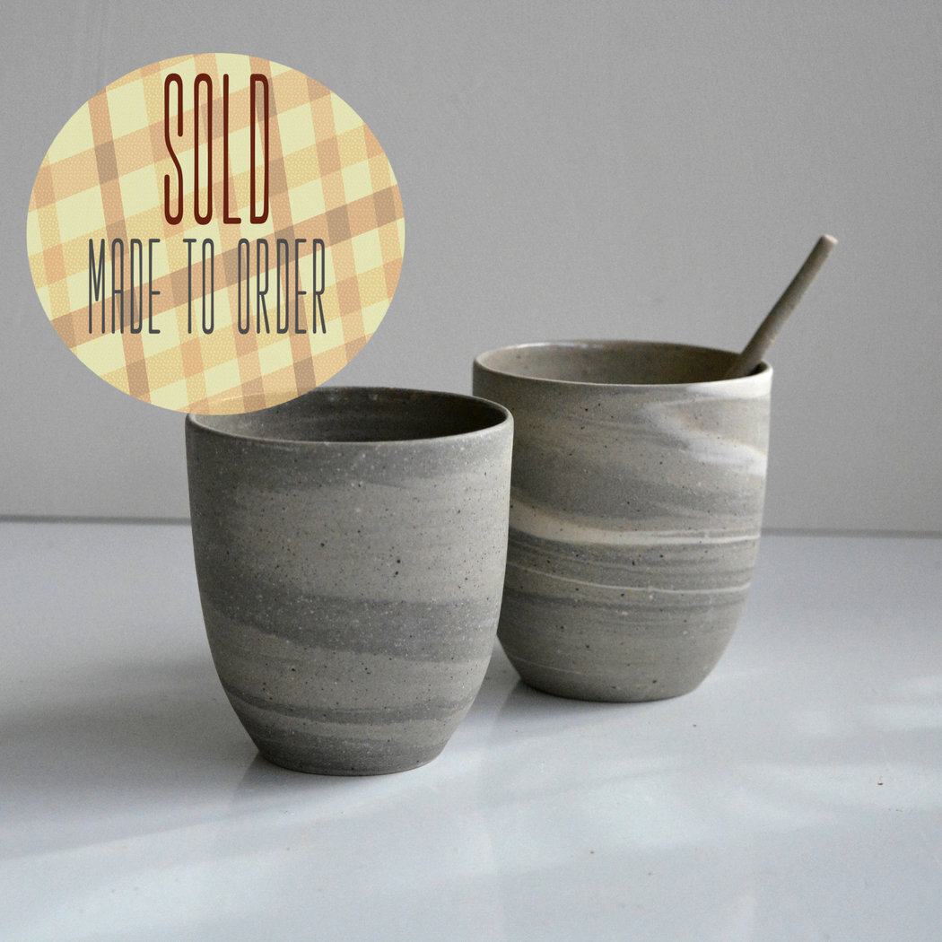 Recycled cafe lungo cups without ear - set of 2 - grey sand.