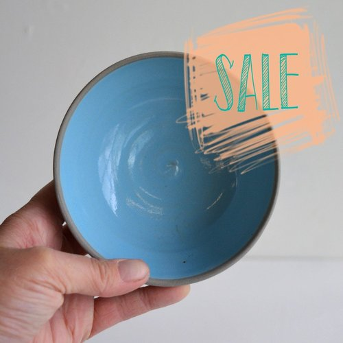 S A L E - Small dish grey and turquoise.