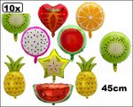 10x Folie ballon Fruit mix 45cm