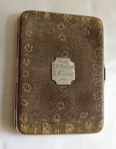 Snakeskin and silver cigar case, 1894