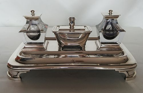 Silver inkstand, Barnard Brothers, London 1843