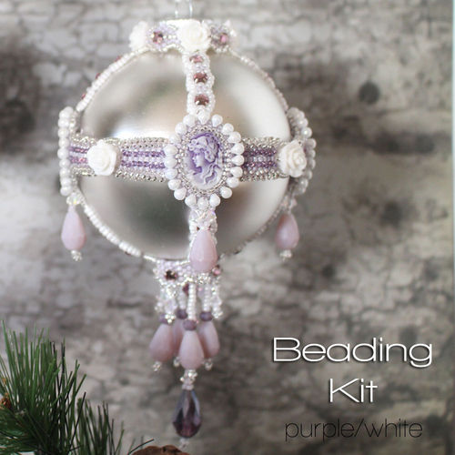 Beading kit for Edwardian Christmas Ornament - Purple