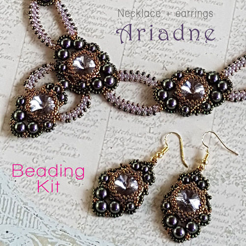 Beading kit - necklace and earrings 'Ariadne' - Purple/mauve