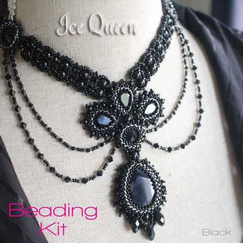 Beading Kit - Necklace 'Ice Queen' - Black