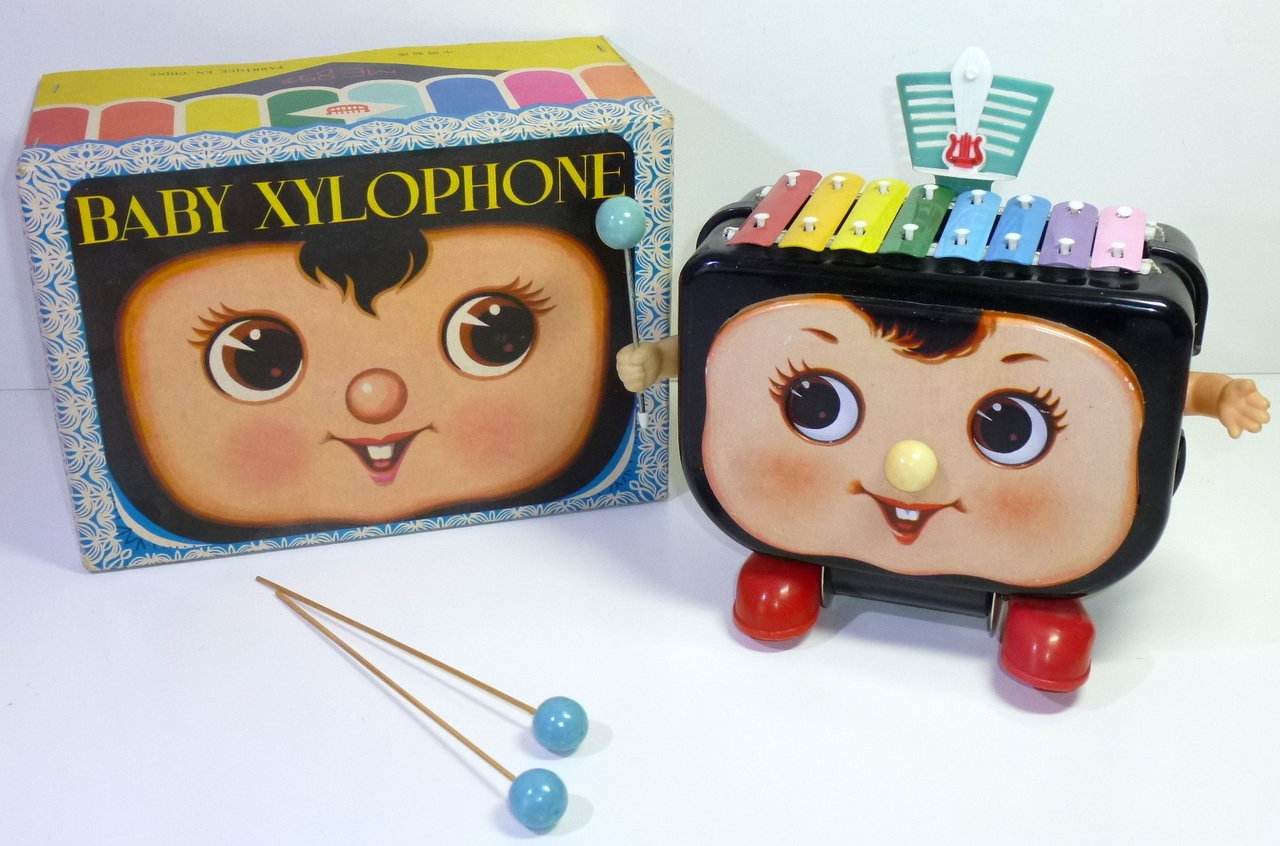 Vintage Chinese # ME 853 BABY XYLOPHONE, battery operated in Original Box.