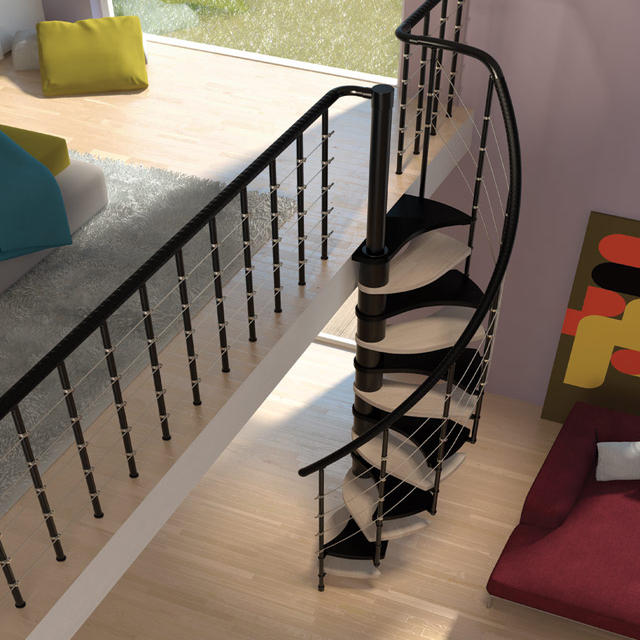 "Space Saver Spiral Staircase Type ""Trio 180°"""