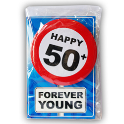 Happy age card 50 jaar met button