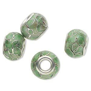 Cloisonné kaal, 14x10mm, zilverplated hart, gat 5mm, groen