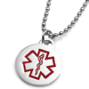 Round Pendant with red medical symbol