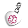 Heart-shaped charm with a pink medical symbol