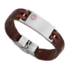 Medical ID bracelet, Brown Leather. engraving only possible at the front.