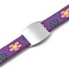 SOS ID Bracelet, Purple with a Flowers print. Engraving is possible at the front and back