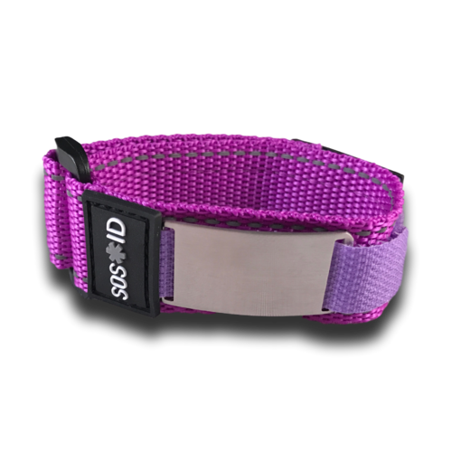 SOS ID Sportband, Purple. Engraving is possible at the front and back.