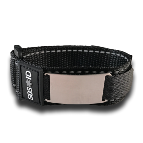 SOS ID Sportband, Black. Engraving is possible at the front and back