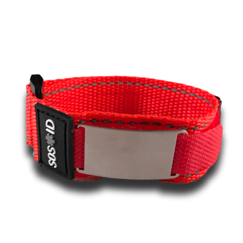 SOS ID Sportband, Red. Engraving is possible at the front and back.