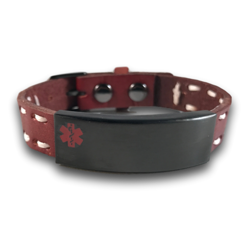 Medical ID bracelet, Brown leather & white stitches. Engraving possible at the front & back.
