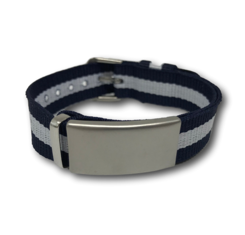 SOS ID bracelet, Blue & White. Engraving is possible at the front and back.