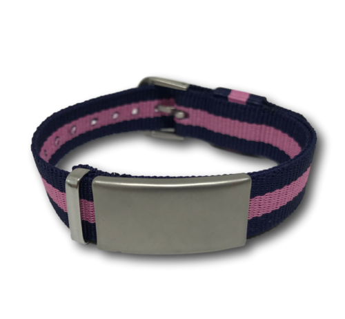 SOS ID bracelet, Blue & Pink. Engraving is possible at the front and back.