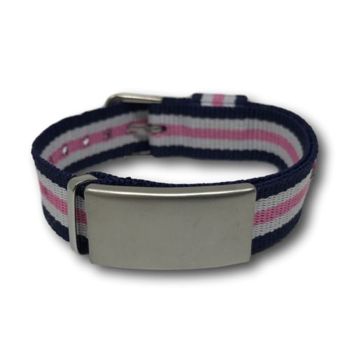 SOS ID bracelet, Blue, White & Pink. Engraving is possible at the front and back.