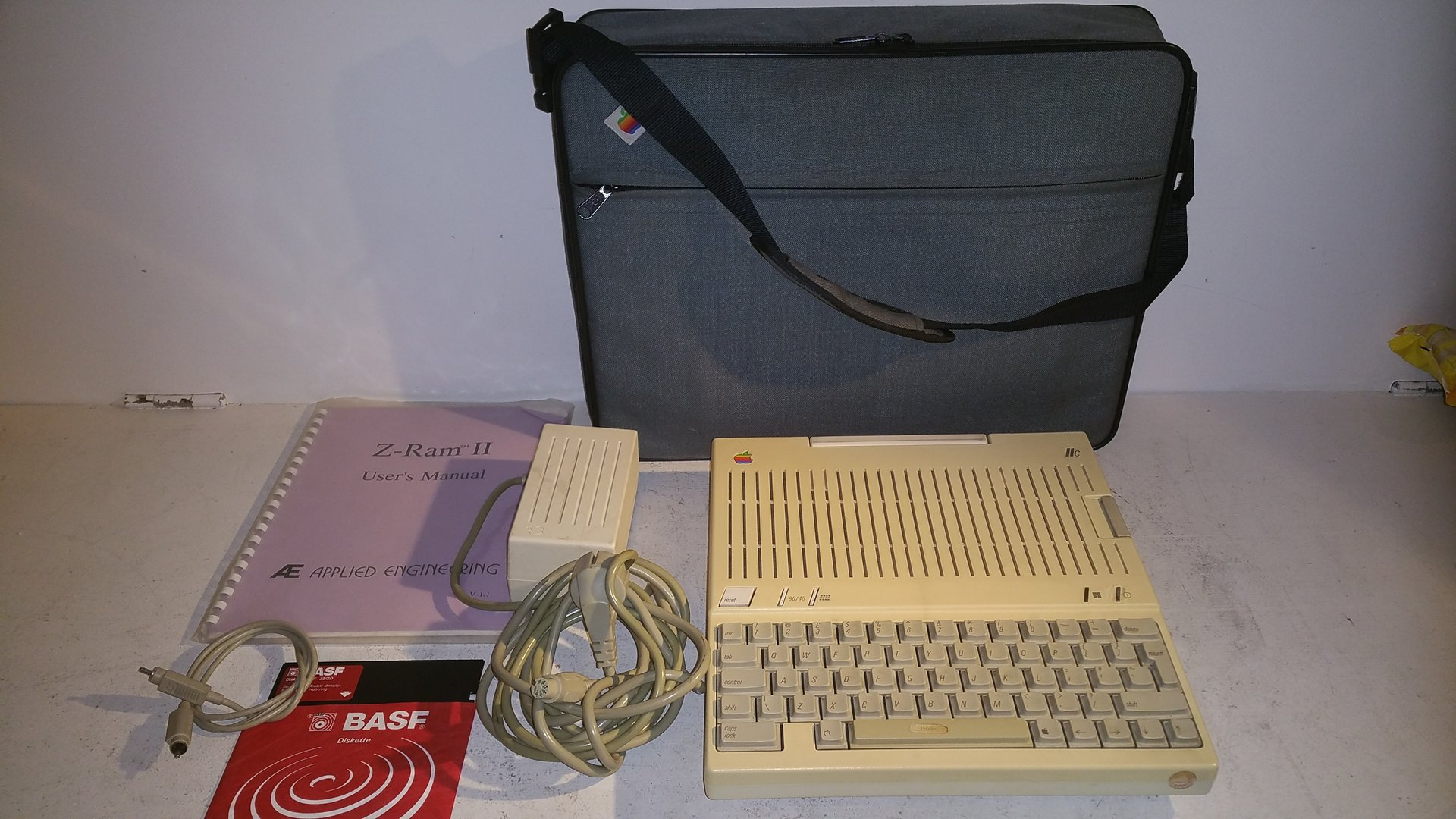 Apple IIc Computer in original bag. Power Supply and diskette included