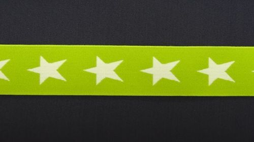 Waist elastic wide lime green with star