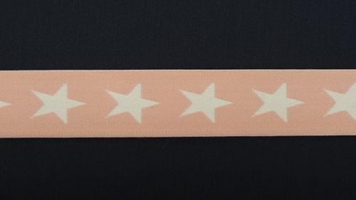 Waist elastic wide light pink with star