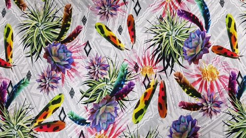 Digitale print Coloured Feathers 258