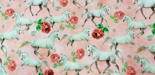 Digitale print Horses in pink