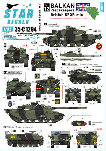 Decals Balkan Peacekeepers British SFOR mix 1/35