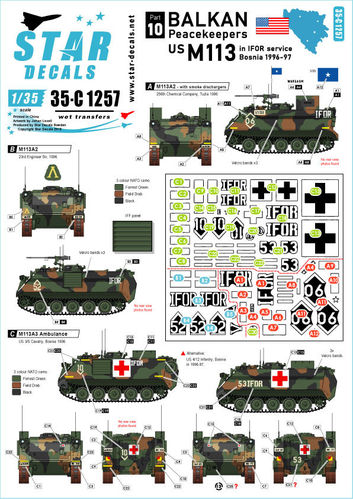 Decals Balkan Peacekeepers US M113 IFOR service Bosnia 1996-1997 1/35